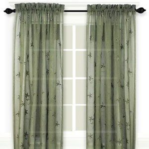 Zurich Embroidered Olive Curtain Panel 52x72